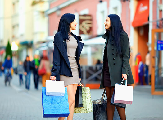 Girls Laughing and Shopping